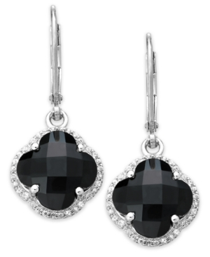Sterling Silver Black Onyx (6-3/4 ct. t.w.) and White Topaz (5/8 ct. t.w.) Clover Earrings