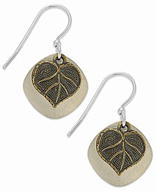 Silver-Plated Earrings, Hammered Disc and Leaf Drop Earrings
