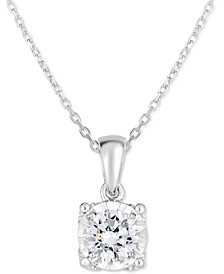"Diamond Solitaire 18"" Pendant Necklace (3/4 ct. t.w.) in 14k White Gold"