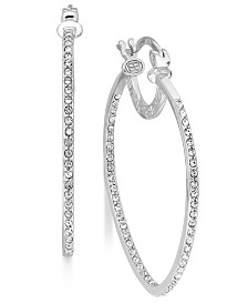 Simone I. Smith Platinum Over Sterling Silver Earrings, Crystal Inside Out Teardrop Hoop Earrings