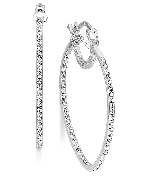 Simone I. Smith Platinum Over Sterling Silver Earrings, Crystal Inside Out Teardrop Hoop Earrings