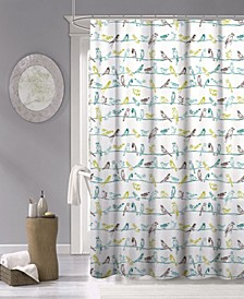 "Tropical Birds Fabric Shower Curtain, 70"" x 72"""