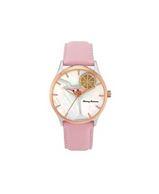 Women's Cocktail Party Spinning Lemon Pink Leather Strap Watch, 41mm