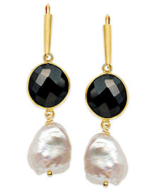 Cultured Freshwater Pearl (11-1/2mm-15-1/2mm) and Onyx (10-14mm) Earrings in 18k Gold over Sterling Silver
