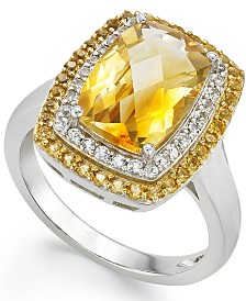 Sterling Silver Ring, Citrine (3-1/3 ct.t .w.) and White Topaz (1/5 ct. t.w.) Rectangle Ring