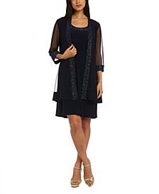 Embellished Dress & 3/4-Sleeve Jacket