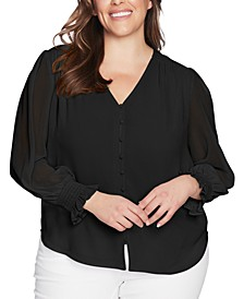 Trendy Plus Size Sheer Long-Sleeve Top