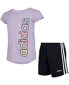 adidas Little Girls Adi 2-Pc. Logo T-Shirt & Shorts Set