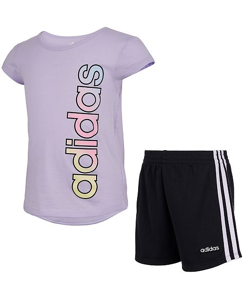 adidas Little Girls Adi 2-Pc. Logo T-Shirt & Shorts Set