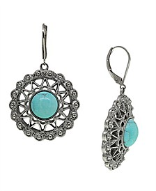 by 1928 Pewter Genuine Howlite Dyed Turquoise Round Earring