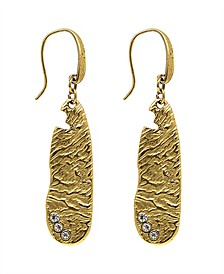 by 1928 14 K Gold Dipped Sculptured Drop Earring Embellished with Swarovski Crystals