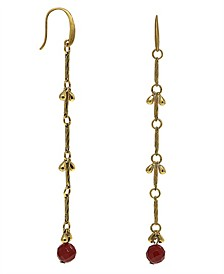 by 1928 Matte 14 K Gold Dipped with Semi-Precious Carnelian Bead Linear Earring