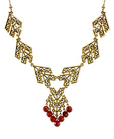 by 1928 14 K Gold with Semi-Precious Carnelian Chevron Necklace