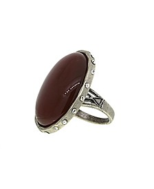 by 1928 Semi-Precious Carnelian Oval Ring with Swarovski Crystal Accents