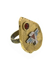 by 1928 Thunderbird On Brass Tone Arrowhead Accented with Amber Color Stone Ring