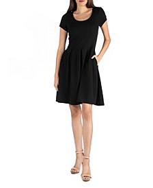 Knee Length Cap Sleeve Dress with Pocket Detail
