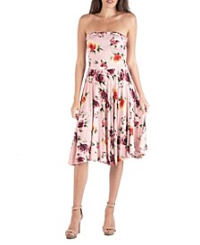 Floral Strapless Midi Dress with A Circle Skirt