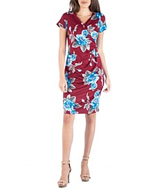 Floral Print Faux Wrap over Dress with Cap Sleeves