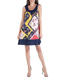 Patchwork Multi Print Sleeveless Mini Dress