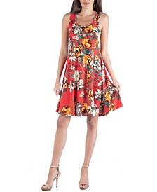 Red Floral Print A-Line Fit and Flare Mini Dress