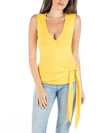 Sleeveless Wrap over V-Neck Top with Waist Tie