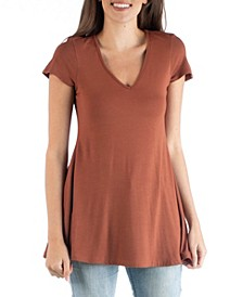 Women's Short Sleeve Loose Fit Tunic Top with V-Neck