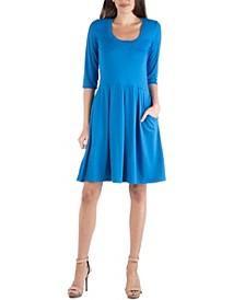 Three Quarter Sleeve Fit and Flare Mini Dress