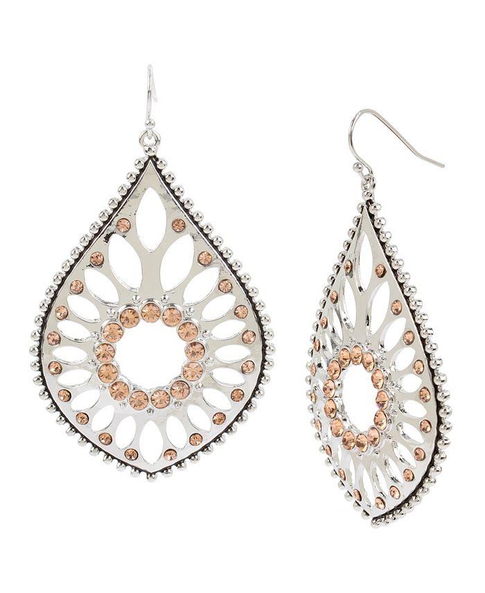 """Jessica Simpson - Openwork Teardrop Earrings, 2.6"""""""