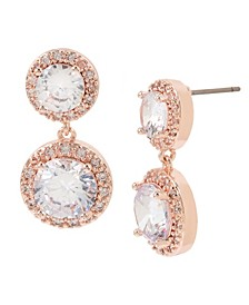 Cubic Zirconia Stone Double Drop Earrings