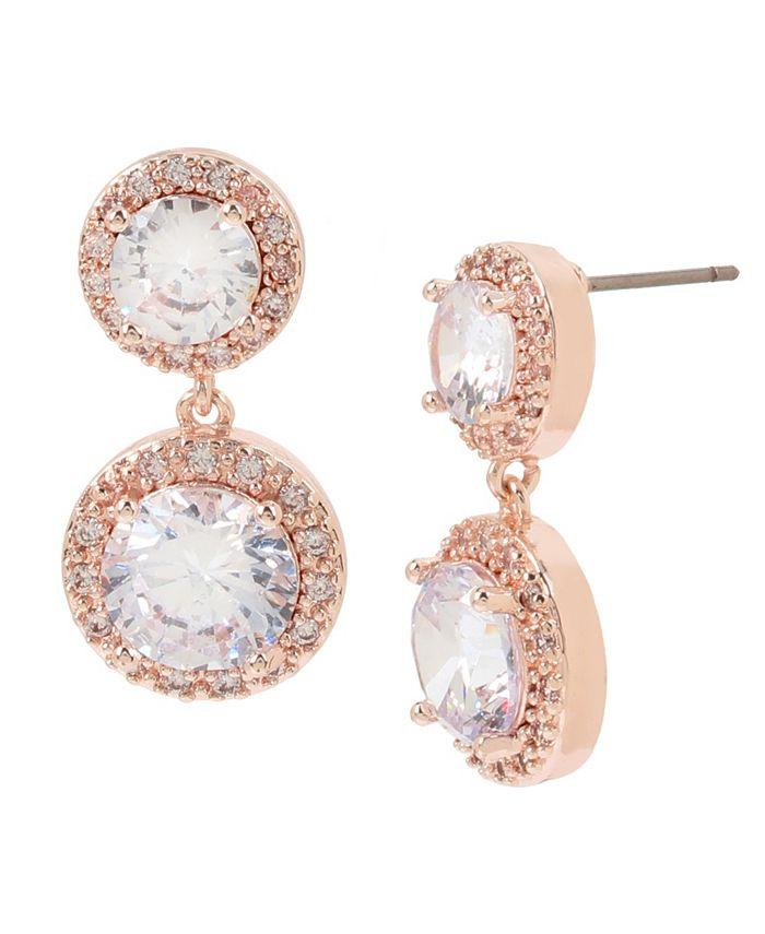 "Jessica Simpson - CZ Stone Double Drop Earrings, 0.8"""