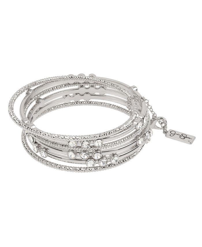"""Jessica Simpson - Stone Mixed Bangle Bracelet Set, 8"""""""