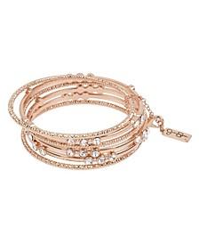 """Stone Mixed Bangle Bracelet Set, 8"""""""