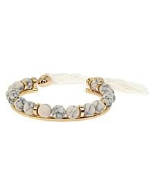 """Tassel Beaded Cuff Bracelet, 5.5"""""""