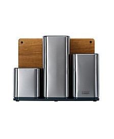 CounterStore Stainless Steel Organizer with Oak Chopping Board