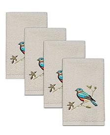 Gilded Birds Hemmed Fingertip Towel, 4 Piece Set