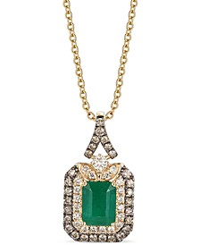 "New Emerald (1-1/5 ct. t.w.) & Diamond (5/8 ct. t.w.) 18"" Pendant Necklace in 14k Gold"