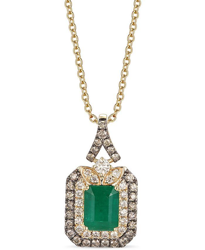 """Le Vian - New Emerald (1-1/5 ct. t.w.) & Diamond (5/8 ct. t.w.) 18"""" Pendant Necklace in 14k Gold"""