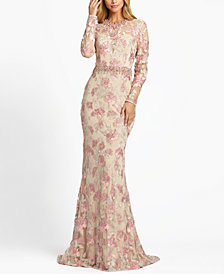 MAC DUGGAL Floral Embellished Embroidered Gown