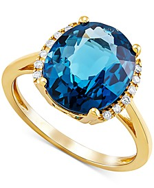 Blue Topaz (5 ct. t.w.) & Diamond (1/20 ct. t.w.) Ring in 10k Gold