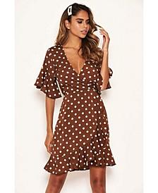 Women's Polka Dot Wrap Frill Dress