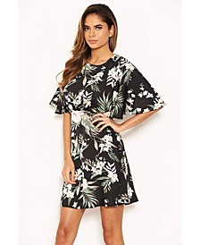 Women's Floral Flute Sleeve Dress