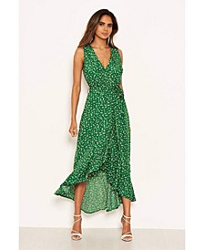 Women's Printed Wrap Over Frill Midi Dress