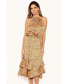 Women's Spotty High Ruffle Neck Midi Dress