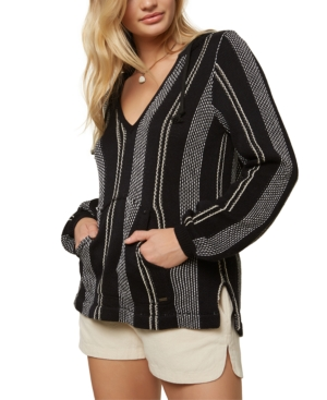 O'neill Juniors' Campfire Striped Hoodie In Black