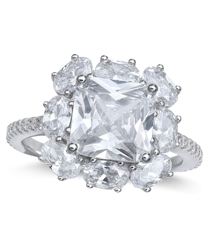 Macy's - Cubic Zirconia Princess Cluster Statement Ring in Sterling Silver