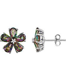 Mystic Topaz Flower Stud Earrings (5/8 ct. t.w.) in Sterling Silver