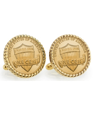 Gold-Layered Lincoln Union Shield Penny Rope Bezel Coin Cuff Links