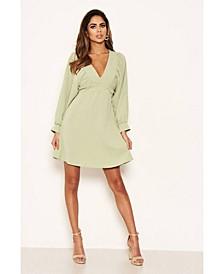 Women's Pleated V-Neck Mini Dress