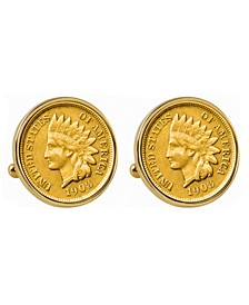 Gold-Layered Indian Penny Bezel Coin Cuff Links