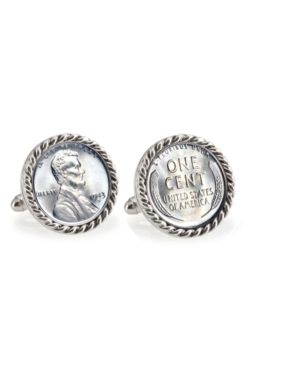 1943 Lincoln Steel Penny Rope Bezel Coin Cuff Links
